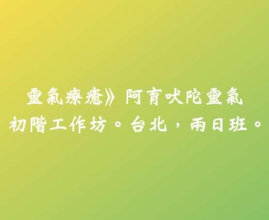 阿育吠陀靈氣擴大增訂版,初階工作坊。2018/04/28-29。